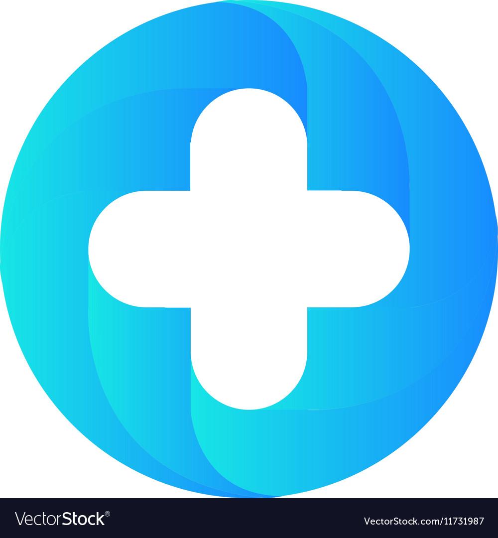 Blue medical cross logo Round shape vector image