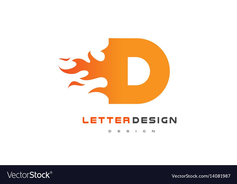 D letter flame logo design fire logo lettering vector image