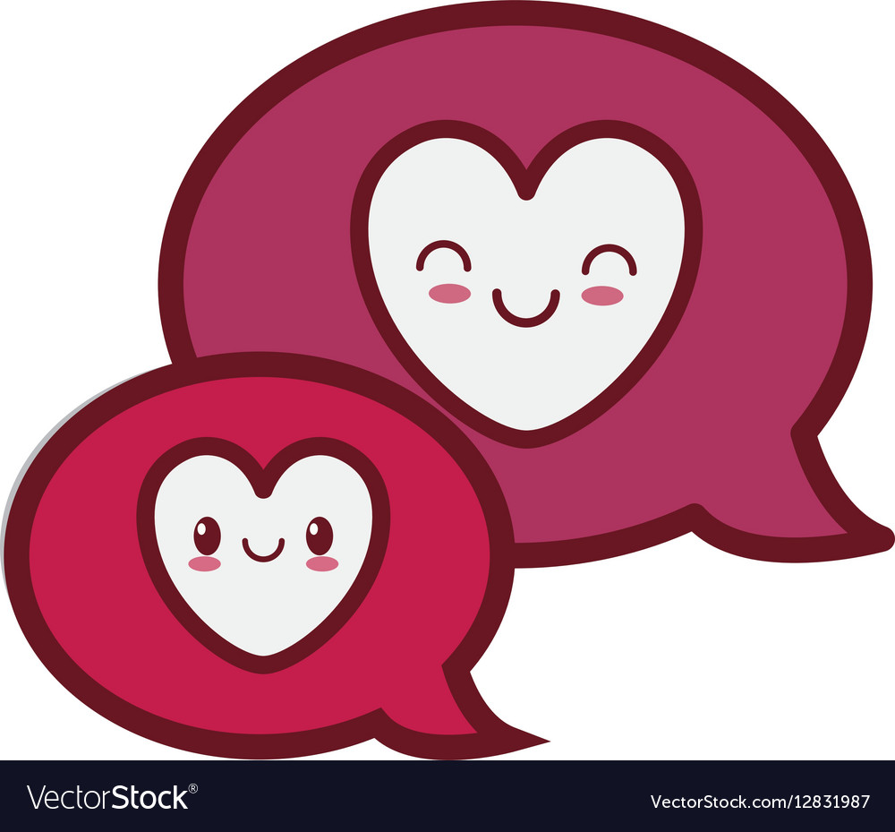 Kawaii love bubbles speech valentine Royalty Free Vector
