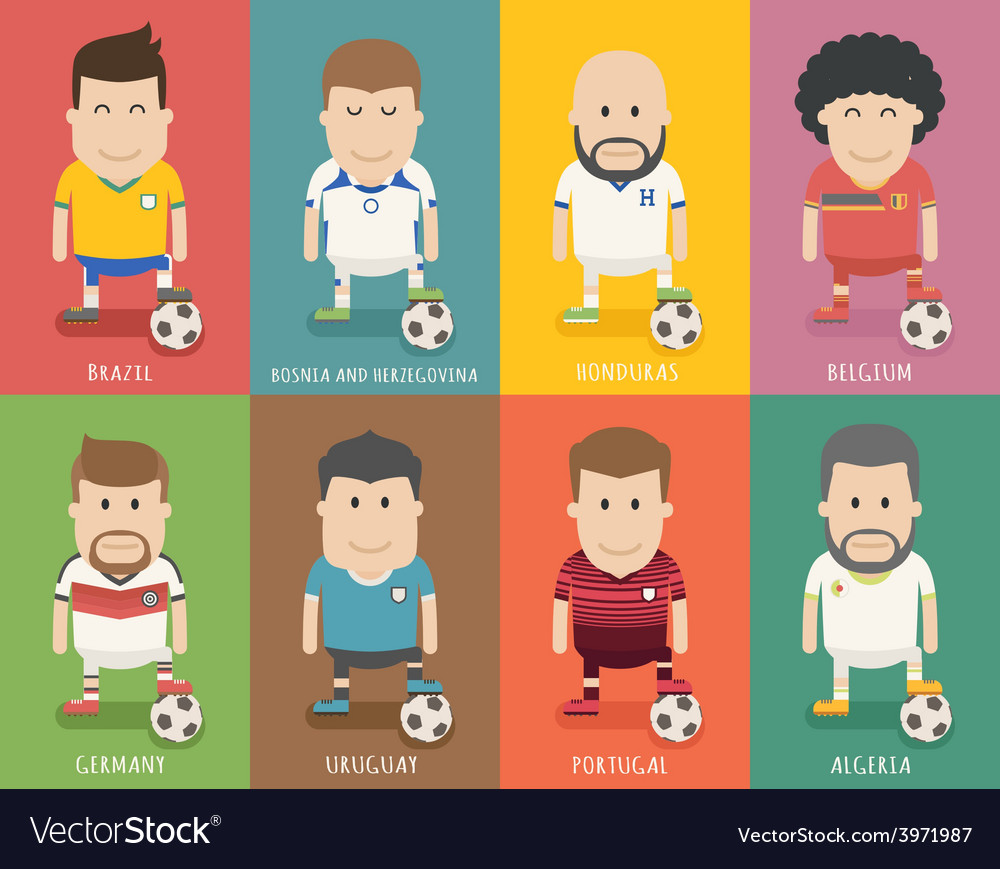 Set of national soccer team uniform football play vector image