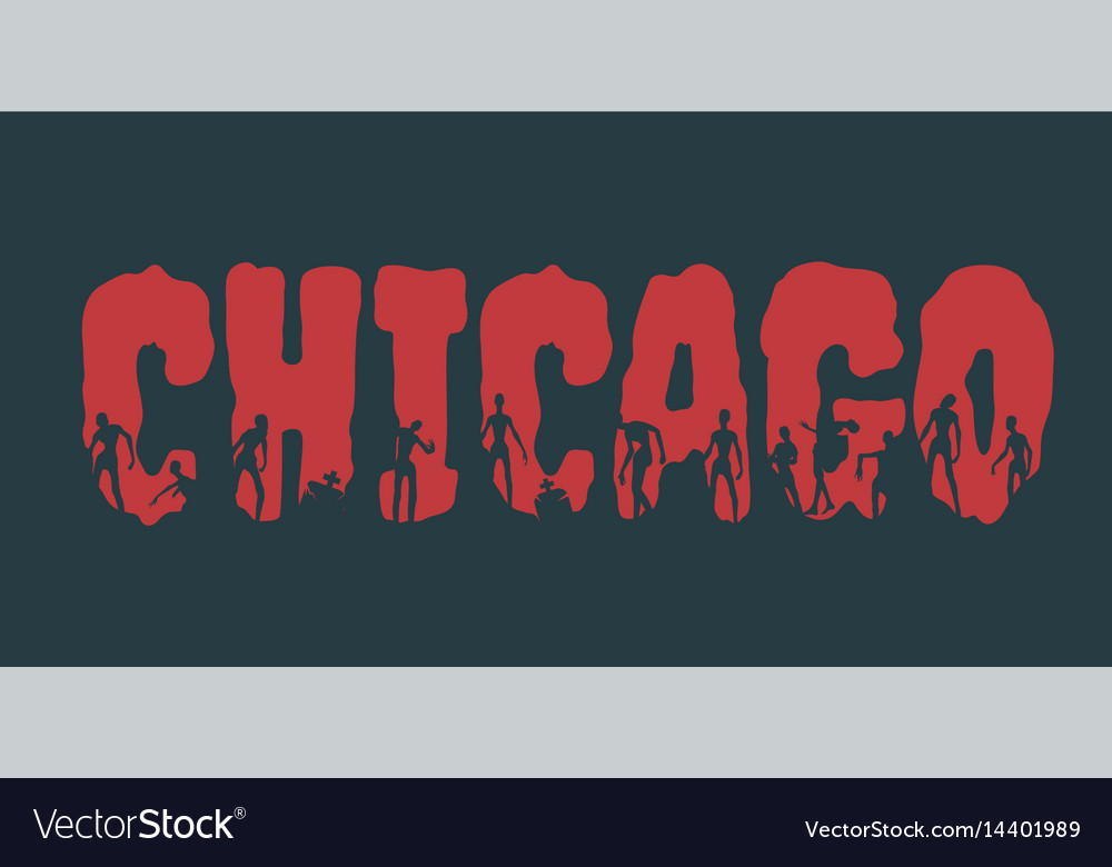 Chicago city name and silhouettes on them vector image