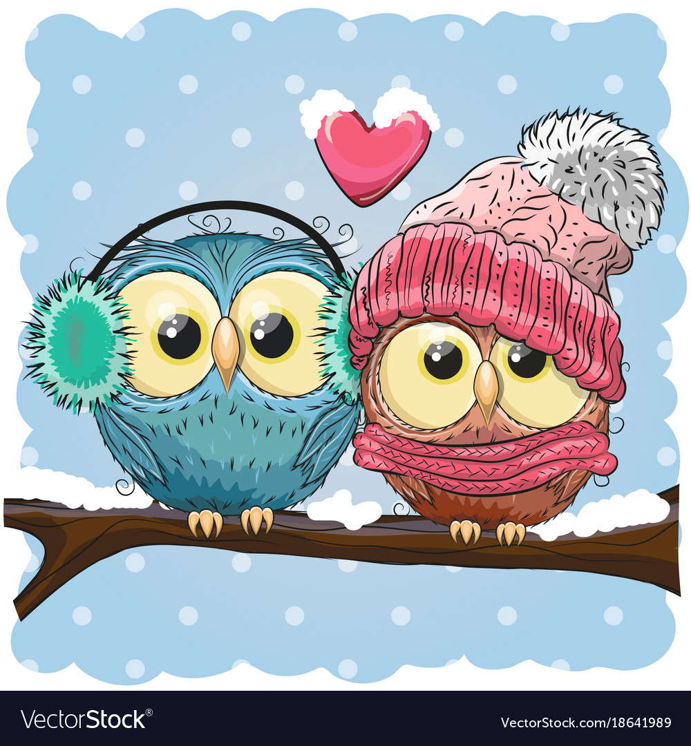 Two cute drawn owls sits on a branch vector image