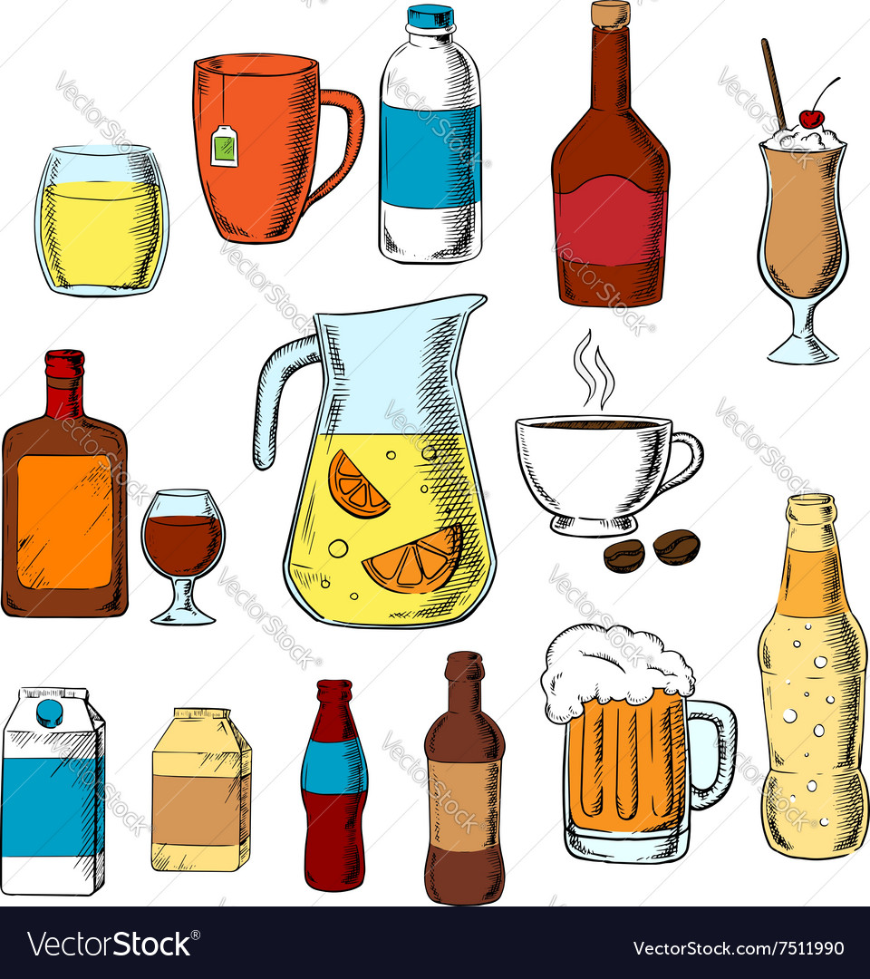 Assorted beverages alcohol and drinks vector image