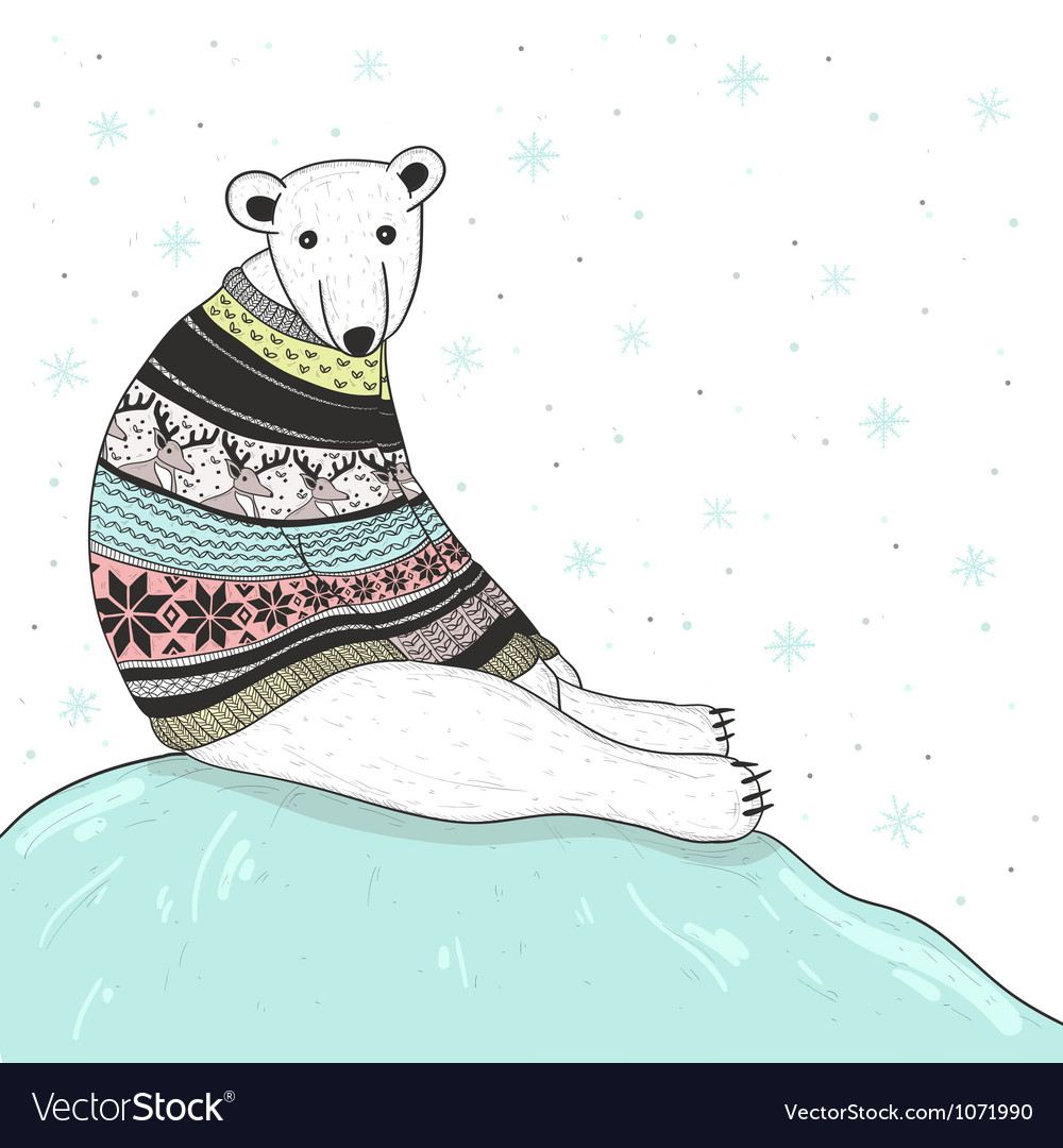 Christmas card with cute polar bear vector image