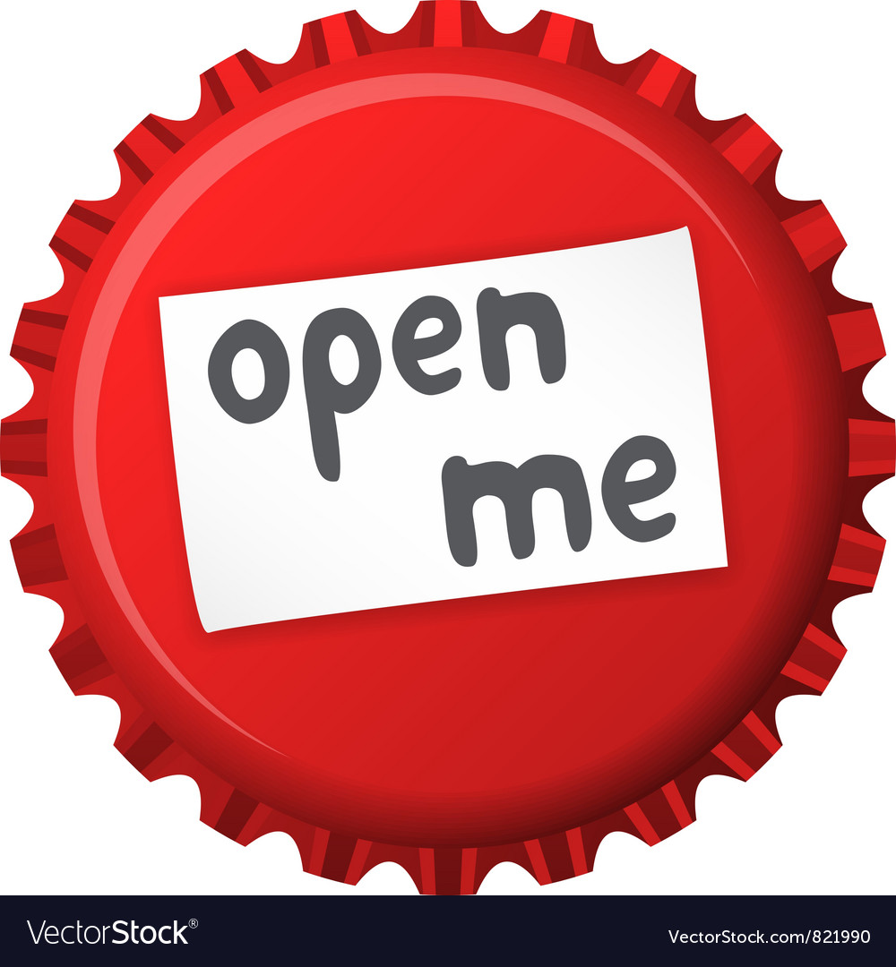 Red bottle cap open me vector image