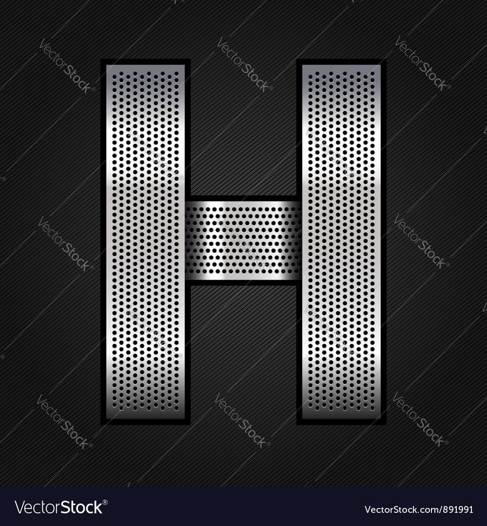 Letter metal chrome ribbon - H Vector Image