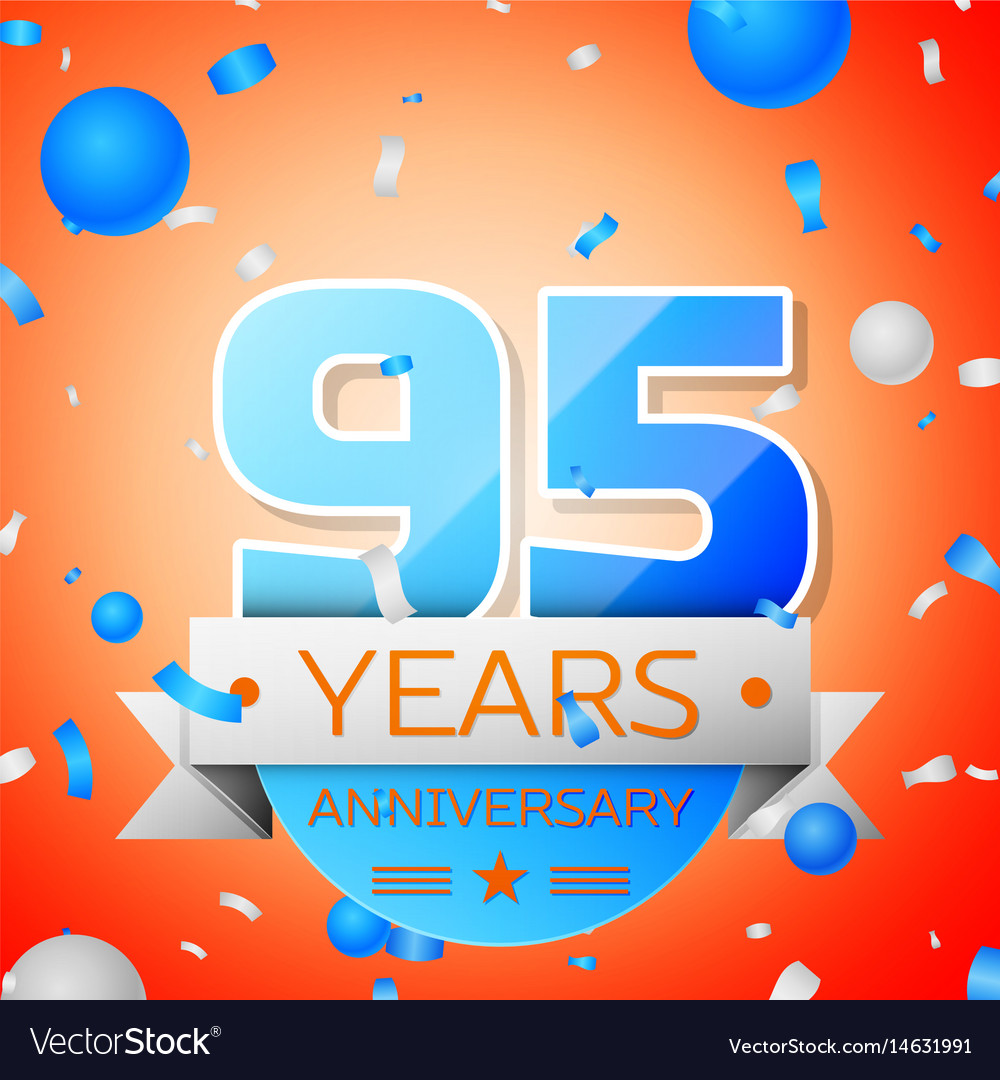 Ninety five years anniversary celebration vector image