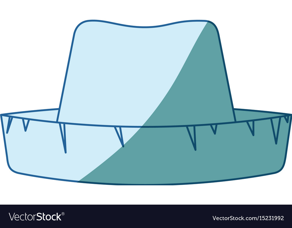 Blue shading silhouette of straw hat vector image