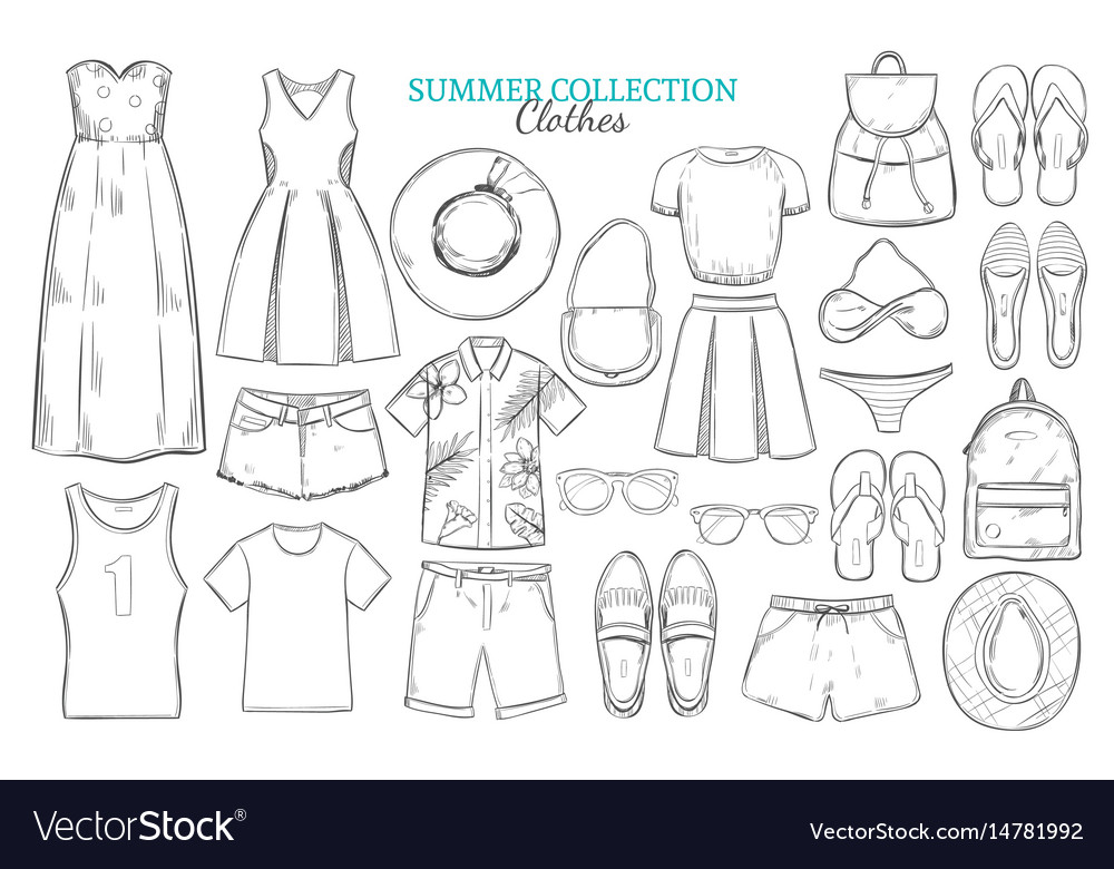 Hand drawn summer wardrobe elements set vector image