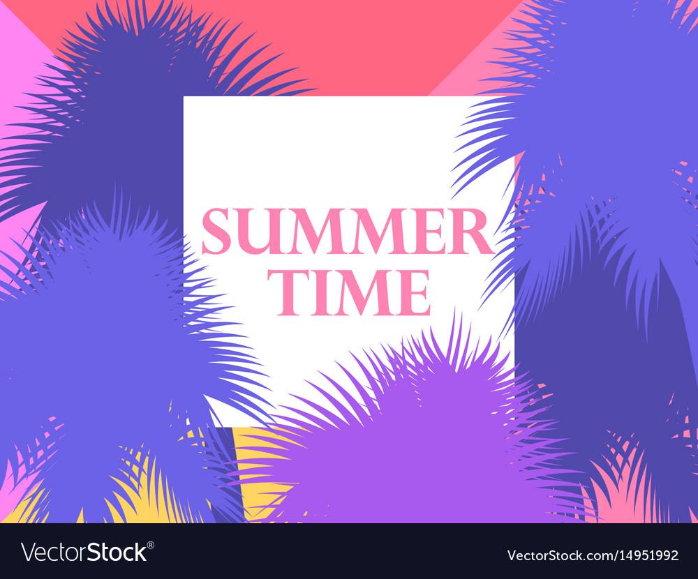 Summer time background with palm trees vector image