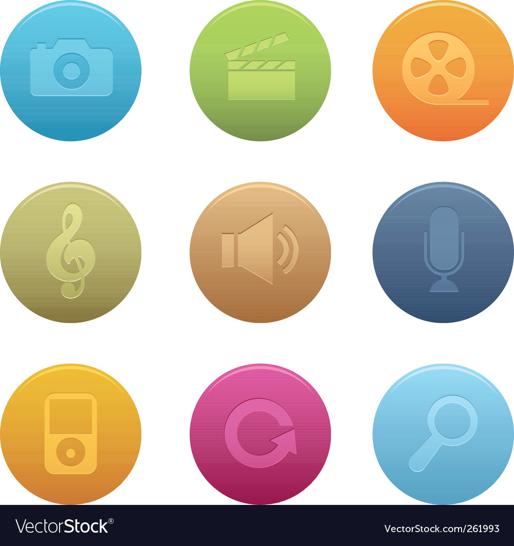 Circle multimedia icons vector image