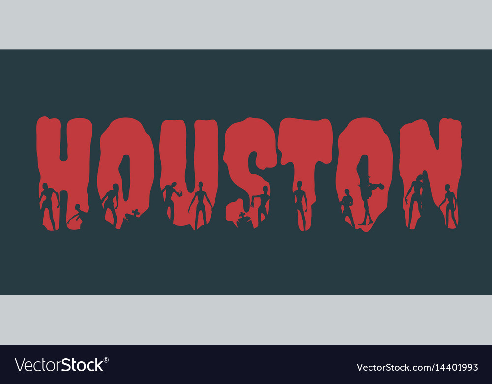 Houston city name and silhouettes on them vector image