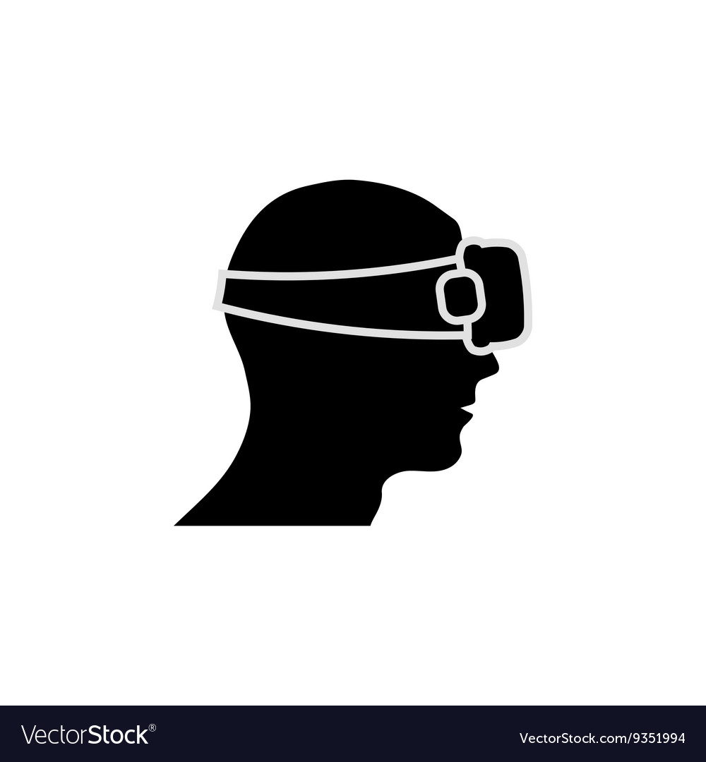 Human head with vr glasses silhouette vector image