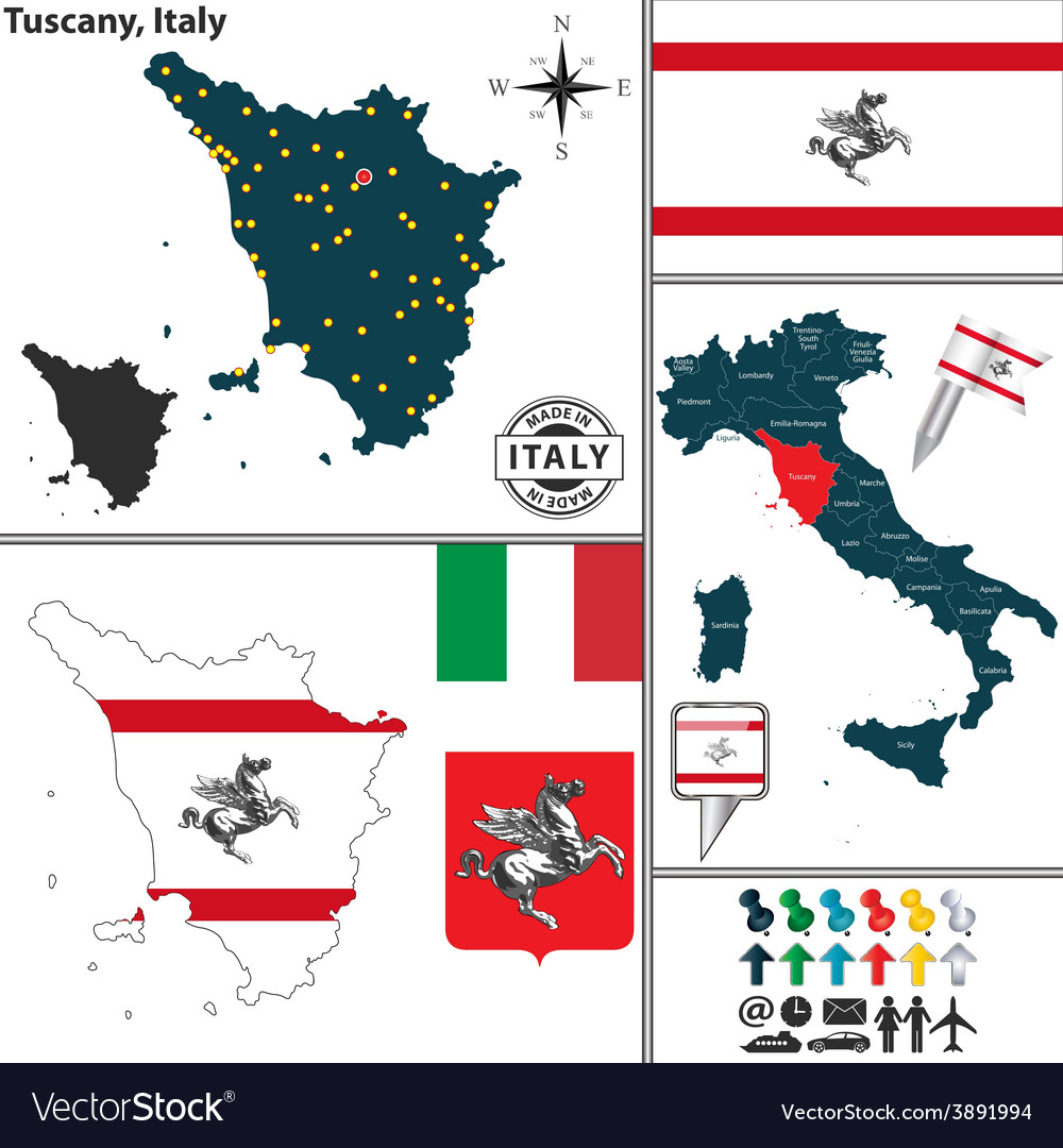 Map of Tuscany Royalty Free Vector Image VectorStock