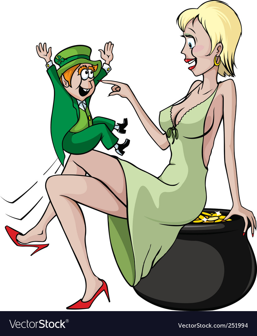 Sexy woman and leprechaun vector image