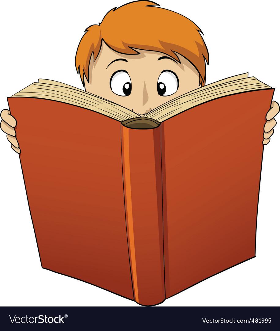 Cartoon boy reading big book vector image