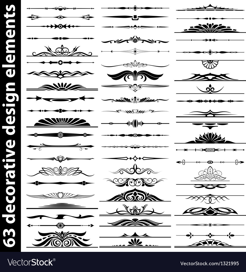 63 decorative design elements vector image
