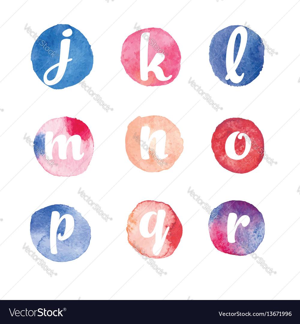 Alphabet watercolor circles vector image
