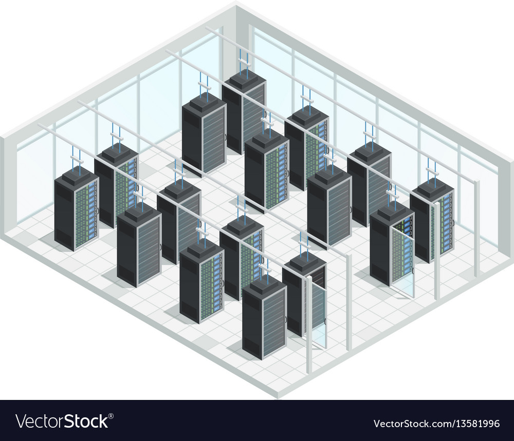 Datacenter server room interior vector image
