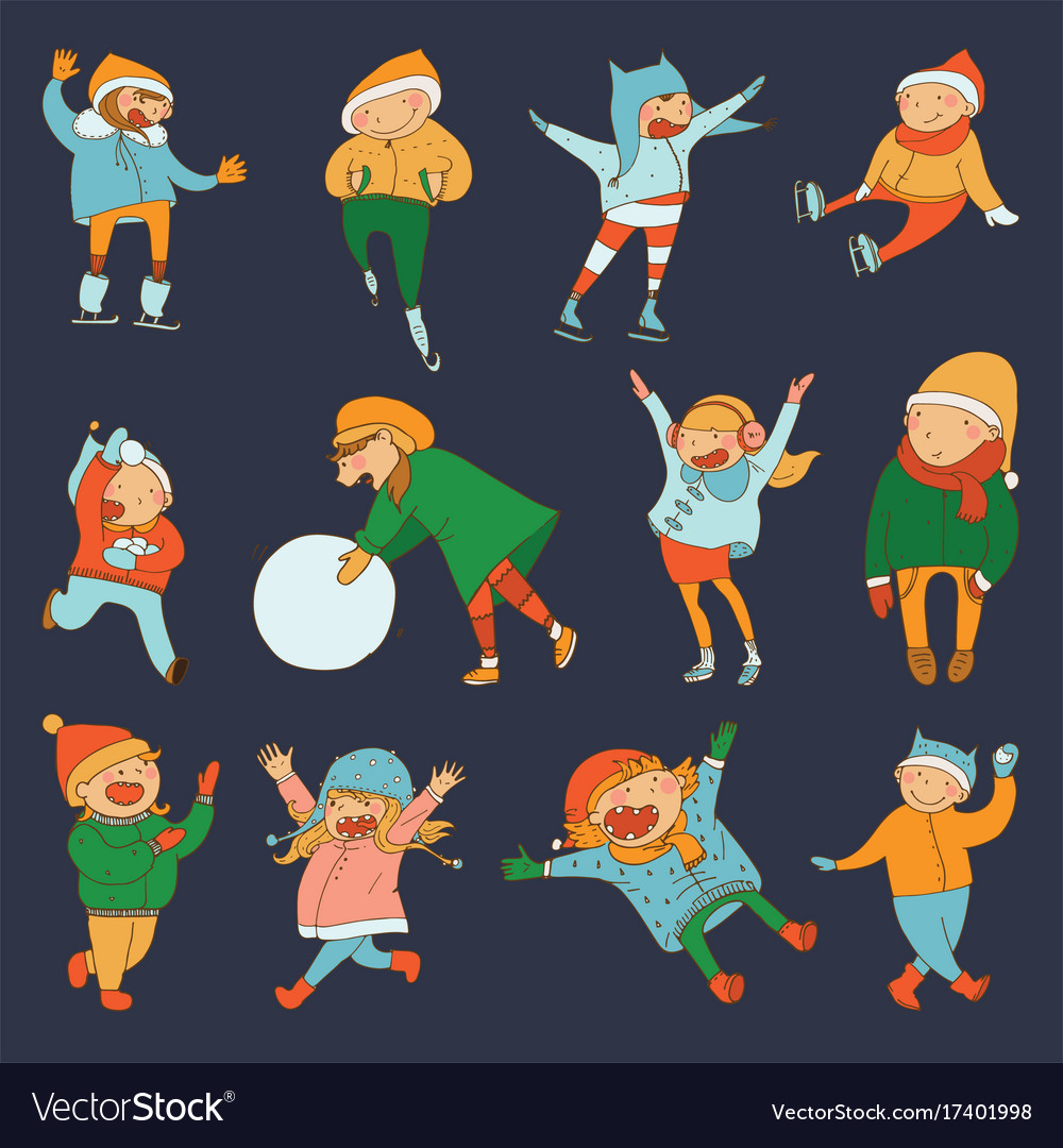 Set with lovely kids playing in winter and doing vector image