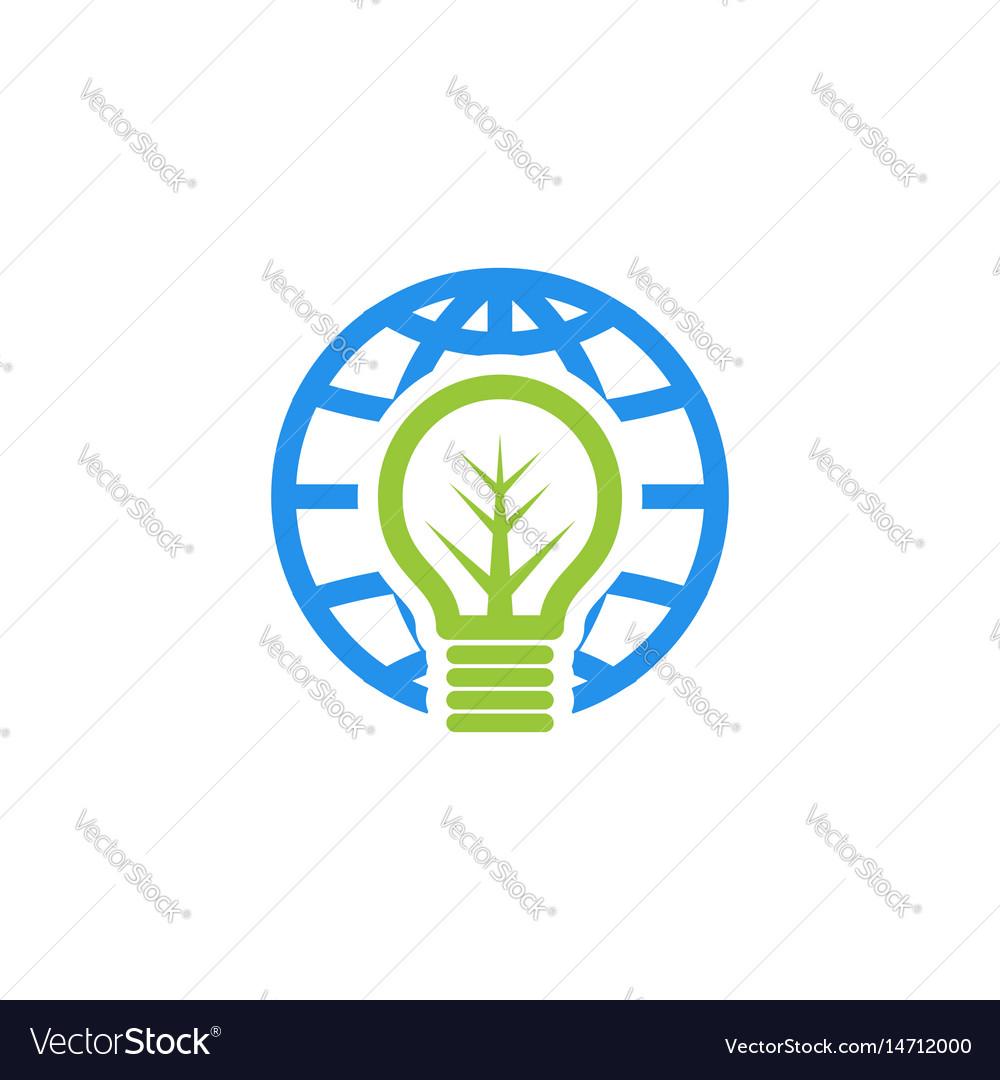 Globe bulb logo vector image