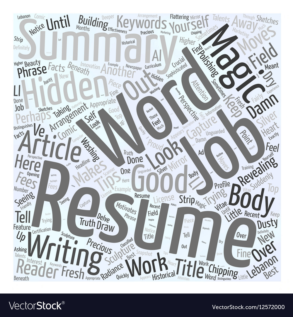 resume Resume Magic magic words in your resume word cloud concept vector image