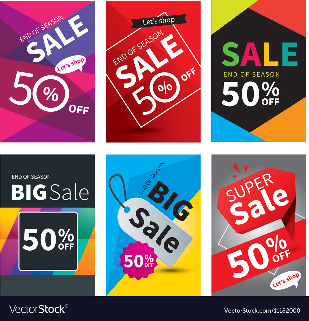 Social media sale banners and ads web template vector image