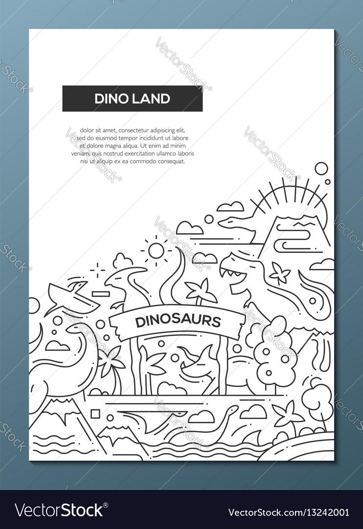 Dinoland - line design brochure poster template a4 vector image