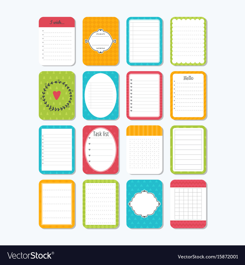 Template for notebooks collection of various note vector image