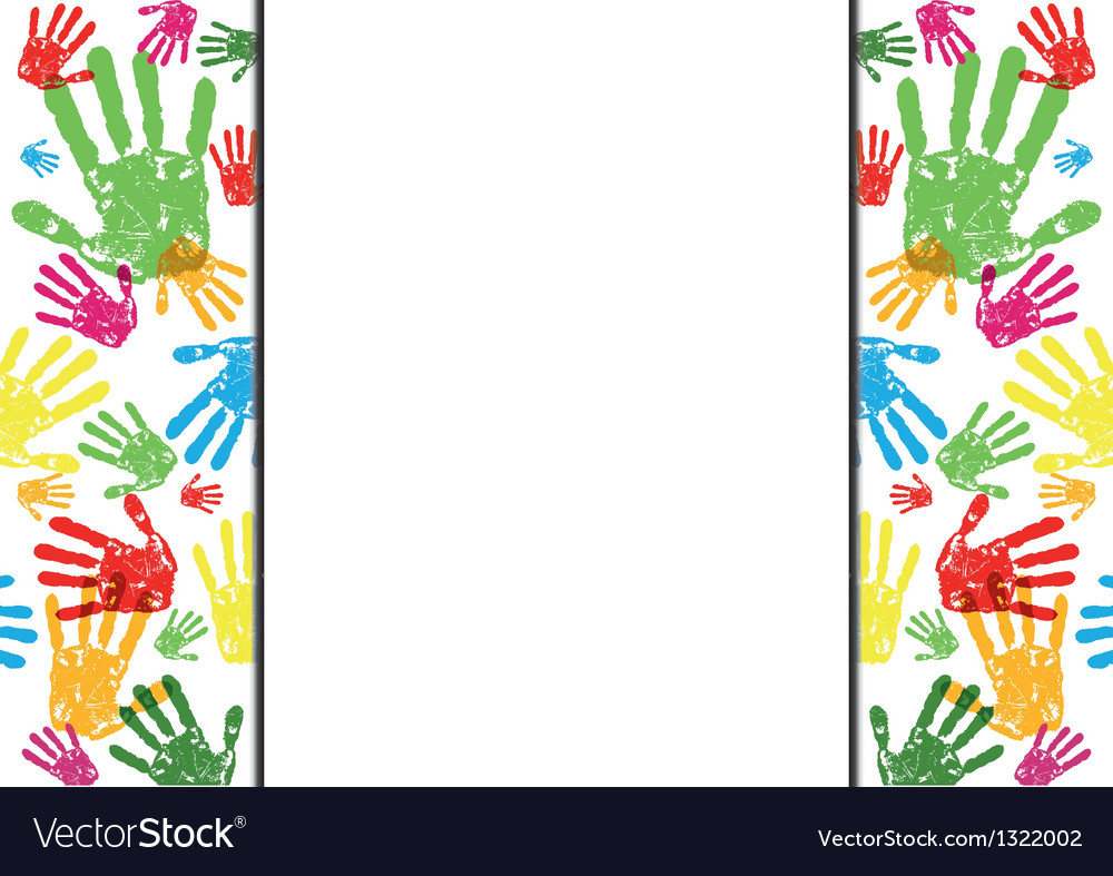 Abstract hand prints background vector image