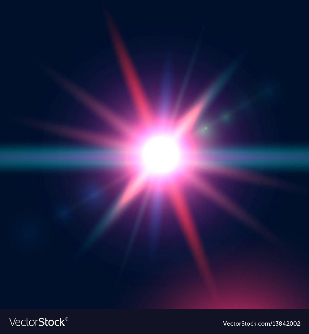 Colorful glowing light burst explosion on dark vector image