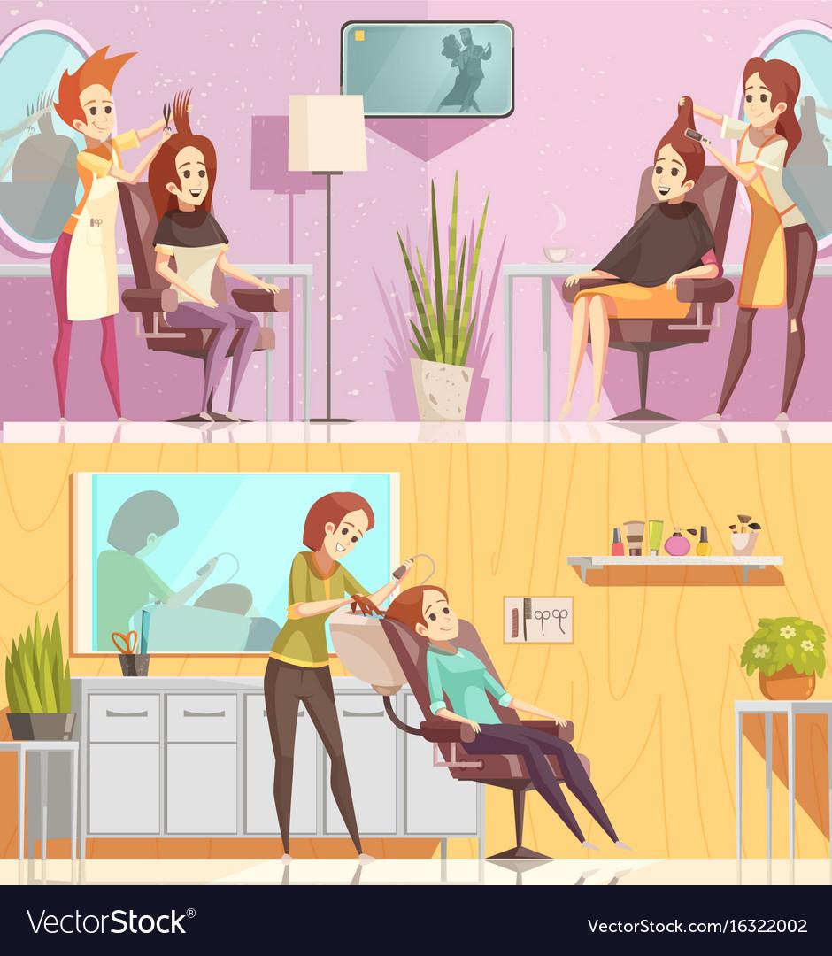 Hair salon horizontal cartoon banners vector image