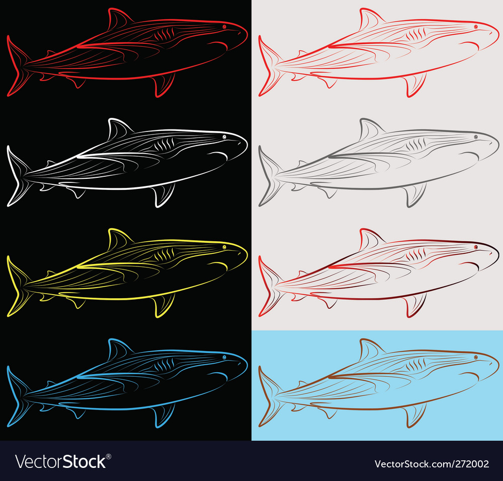 Sharks set collection vector image