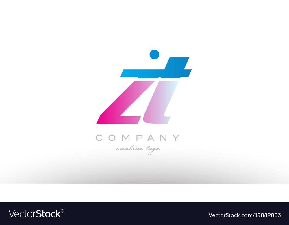 Zt z t alphabet letter combination pink blue bold vector image
