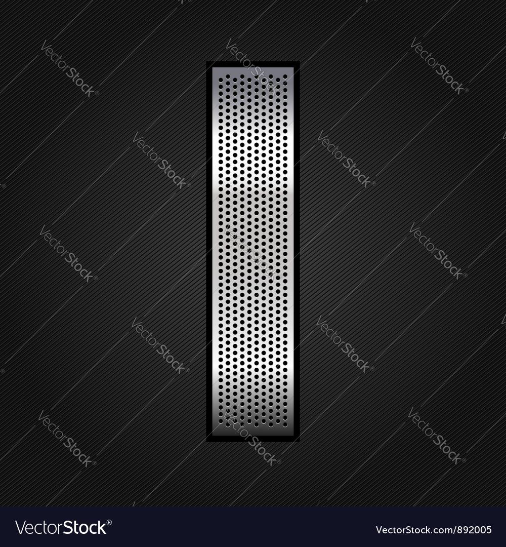 Letter metal chrome ribbon - I vector image
