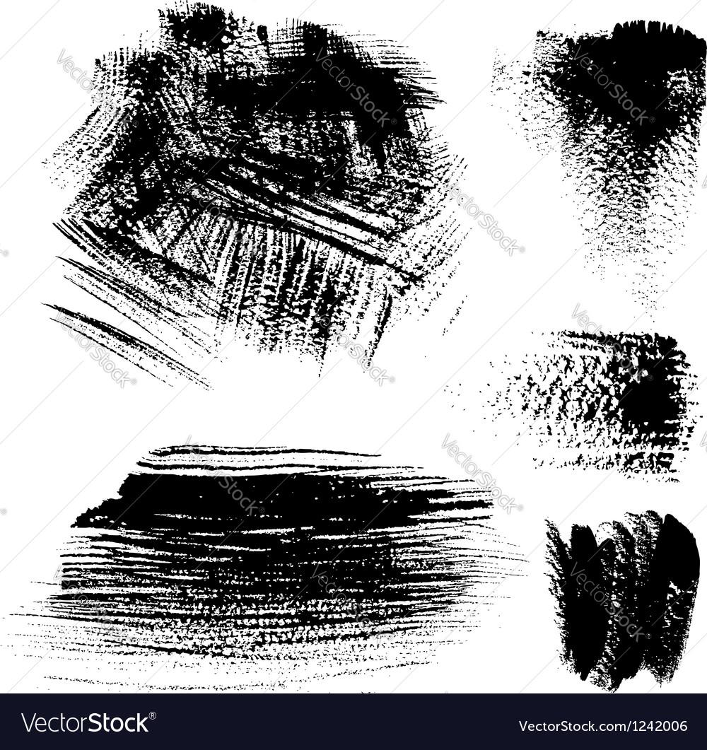 Black textured brush strokes on white background vector image