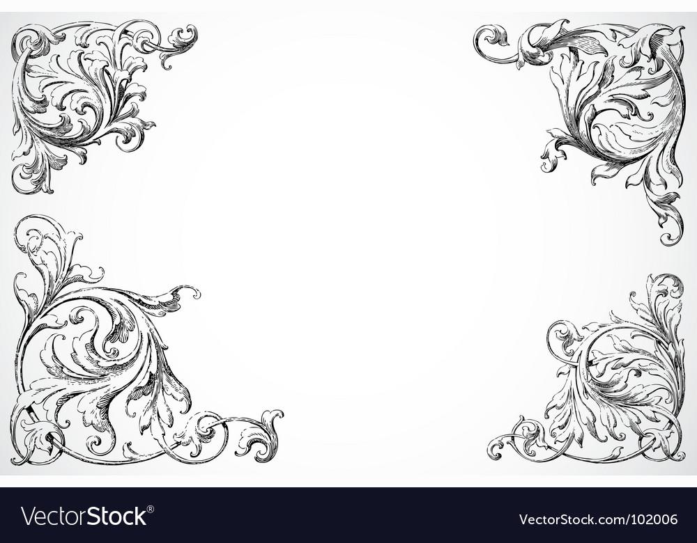 Floral swirl corners vector image