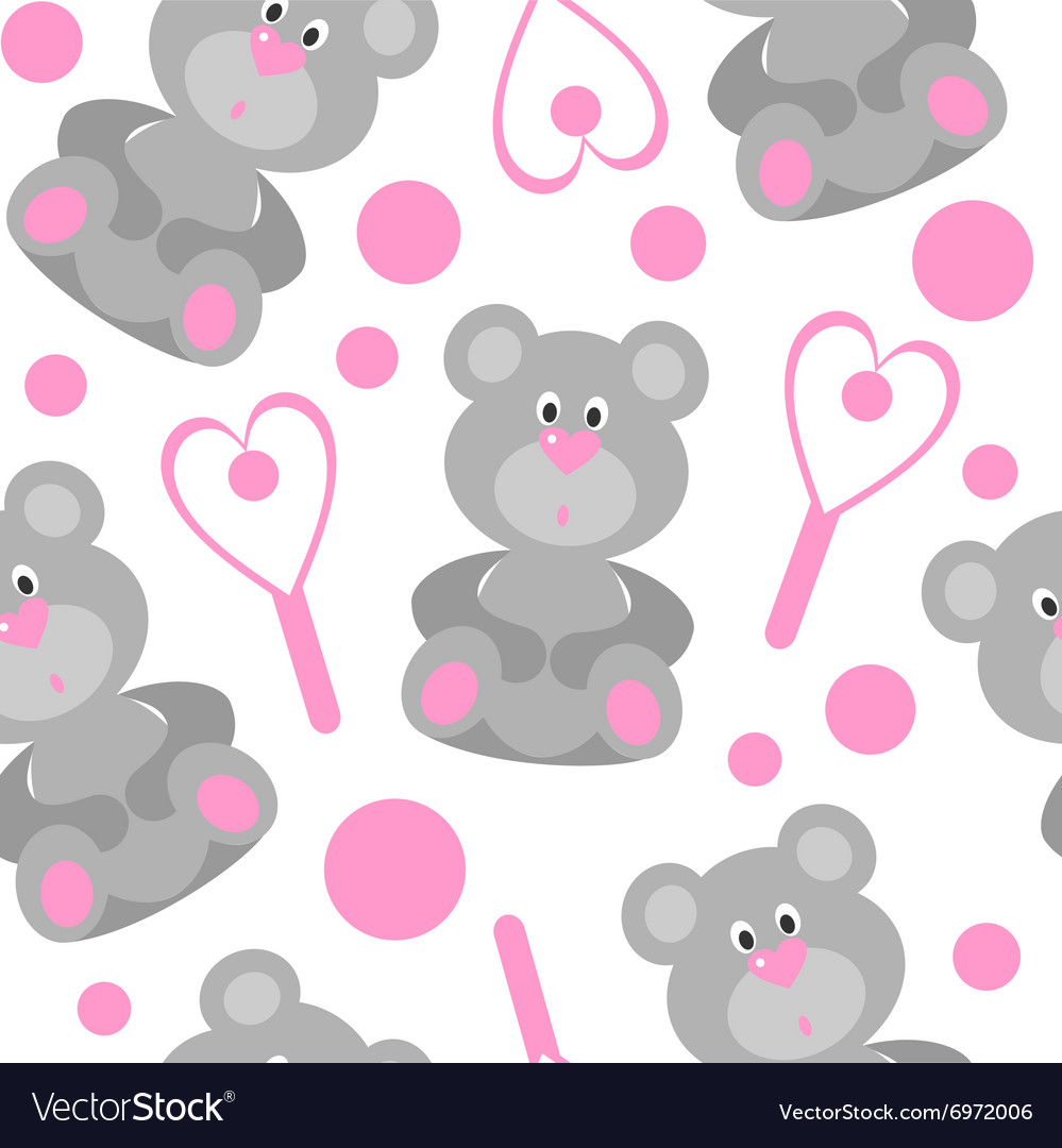 Seamless bear ornament in color 208 vector image