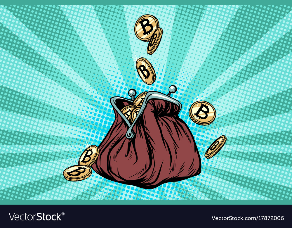 Wallet with bitcoin crypto currency and vector image