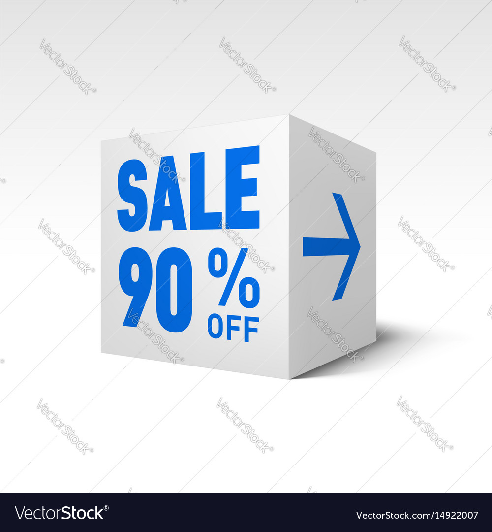 Cube banner template ninety percent off discount vector image