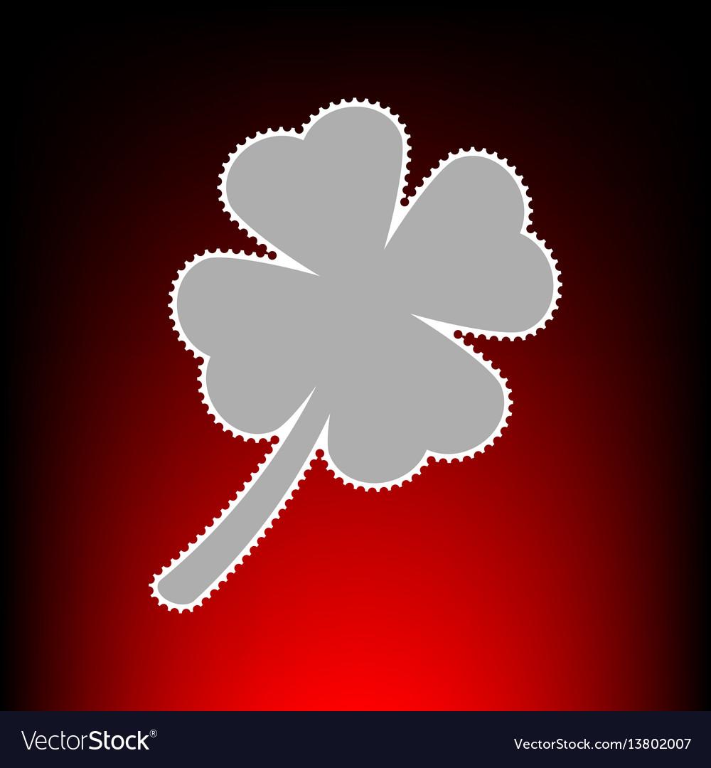 Leaf clover sign postage stamp or old photo style vector image