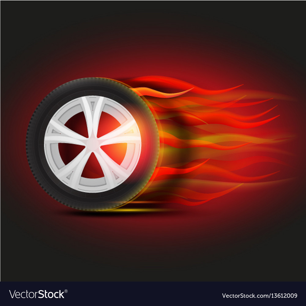 Burning tyre image vector image