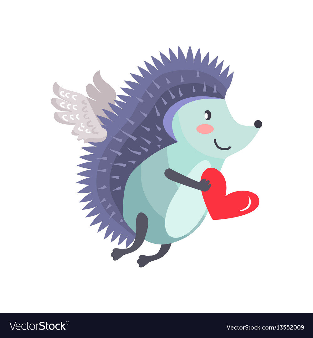Hedgehog flies on wings of love with heart in hand vector image
