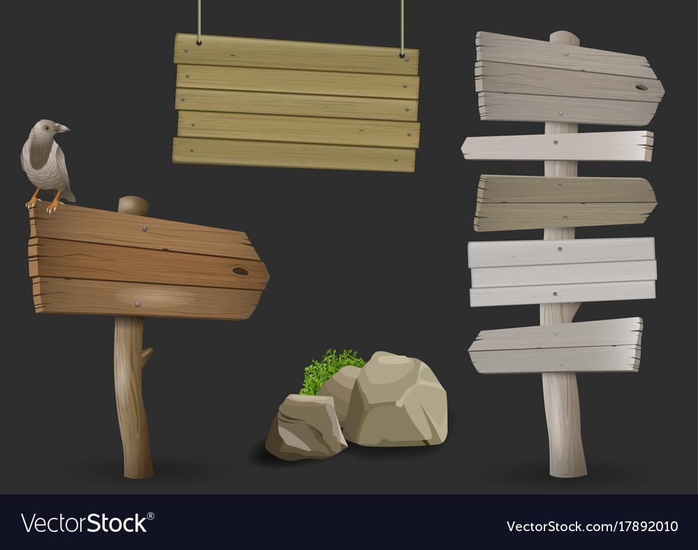 Set of vintage wooden signposts vector image