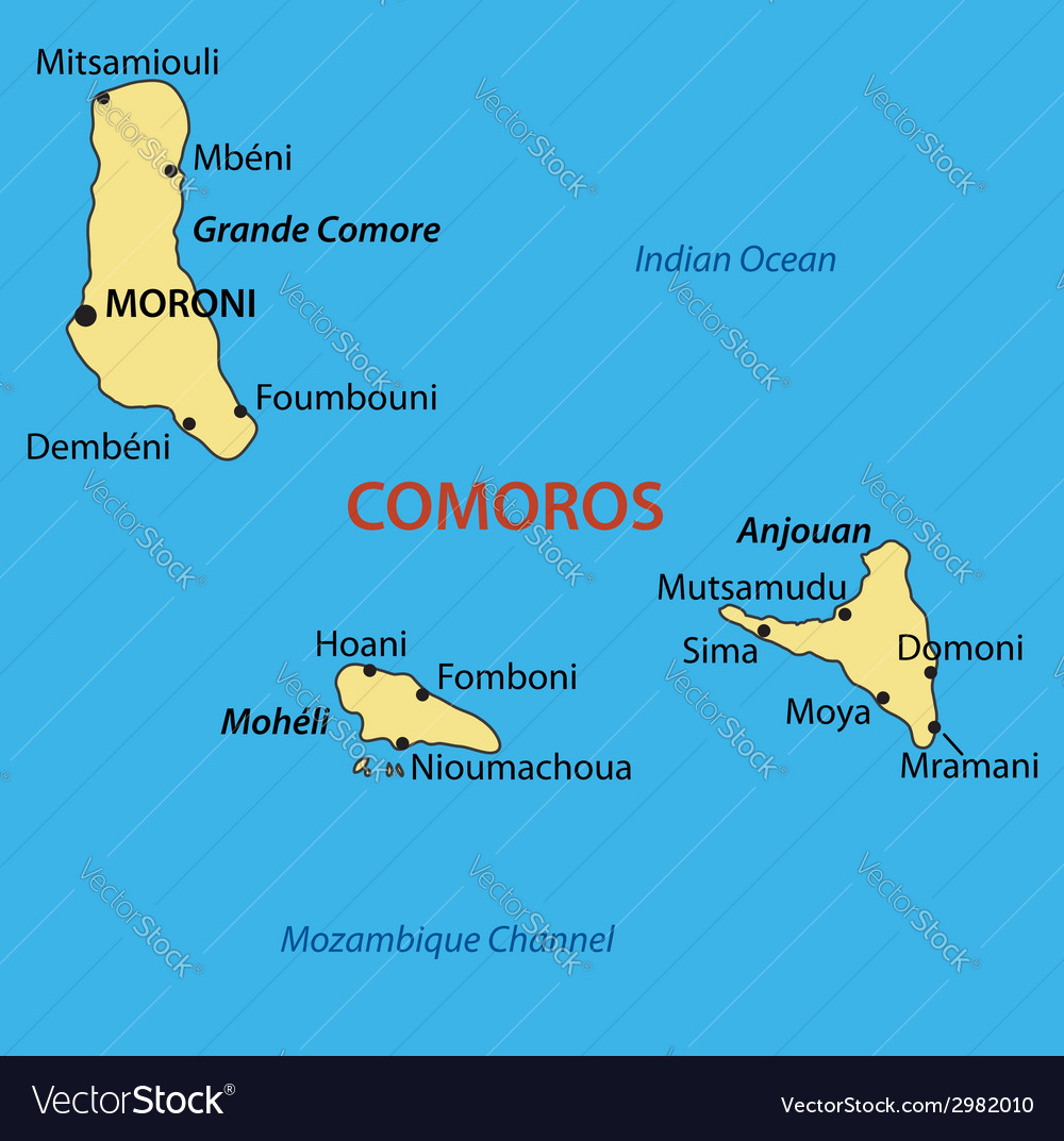 Union of the Comoros map Royalty Free Vector Image