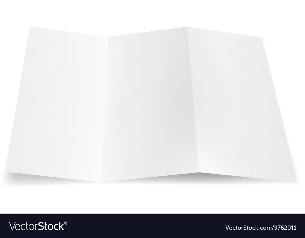 Blank Trifold Paper Leaflet Flyer Broadsheet vector image