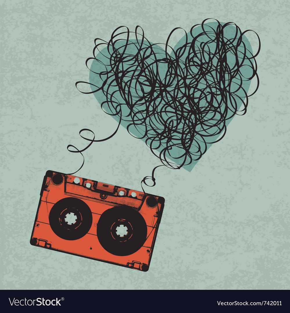 Cassette heart tangled vector image