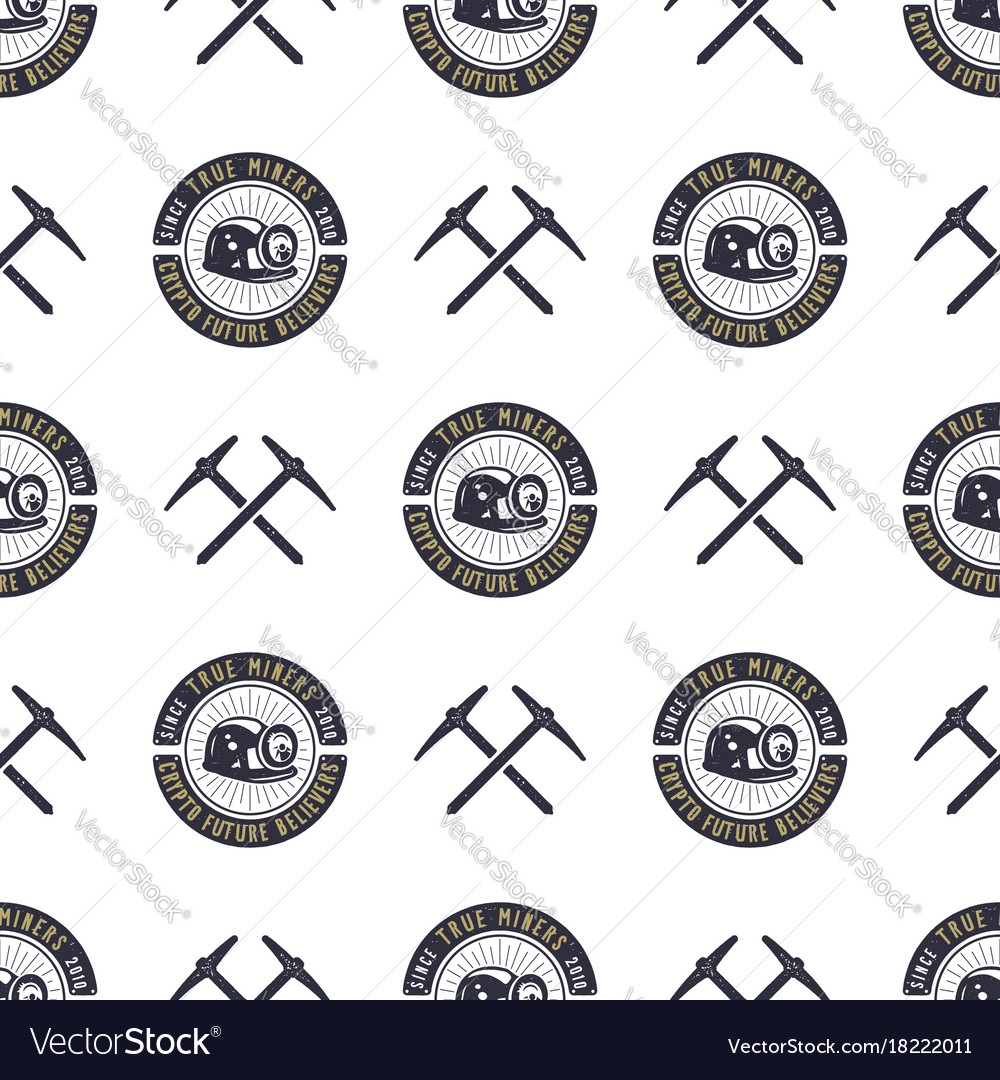 Crypto mining concept seamless pattern pickaxe vector image