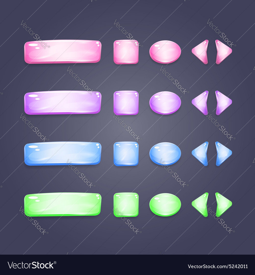 Shiny glass buttons of different shapes vector image