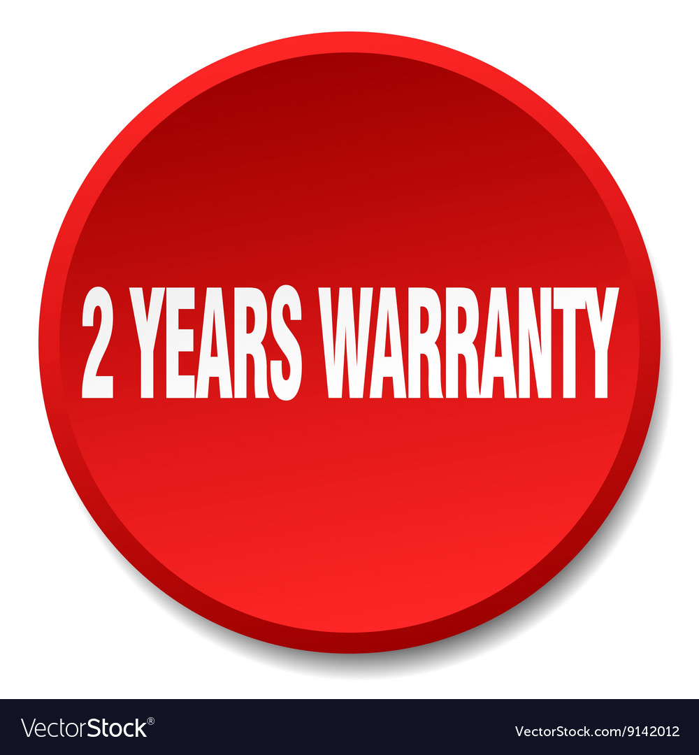 2 years warranty red round flat isolated push vector image